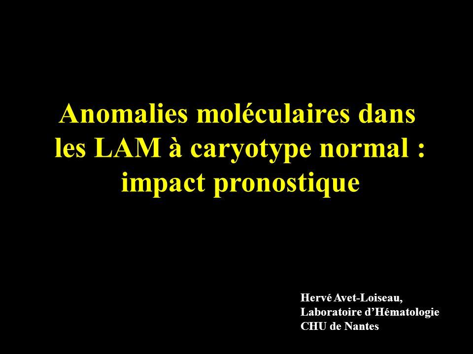 Anomalies moléculaires dans les LAM à caryotype normal : impact pronostique Hervé Avet-Loiseau, Laboratoire dHématologie CHU de Nantes