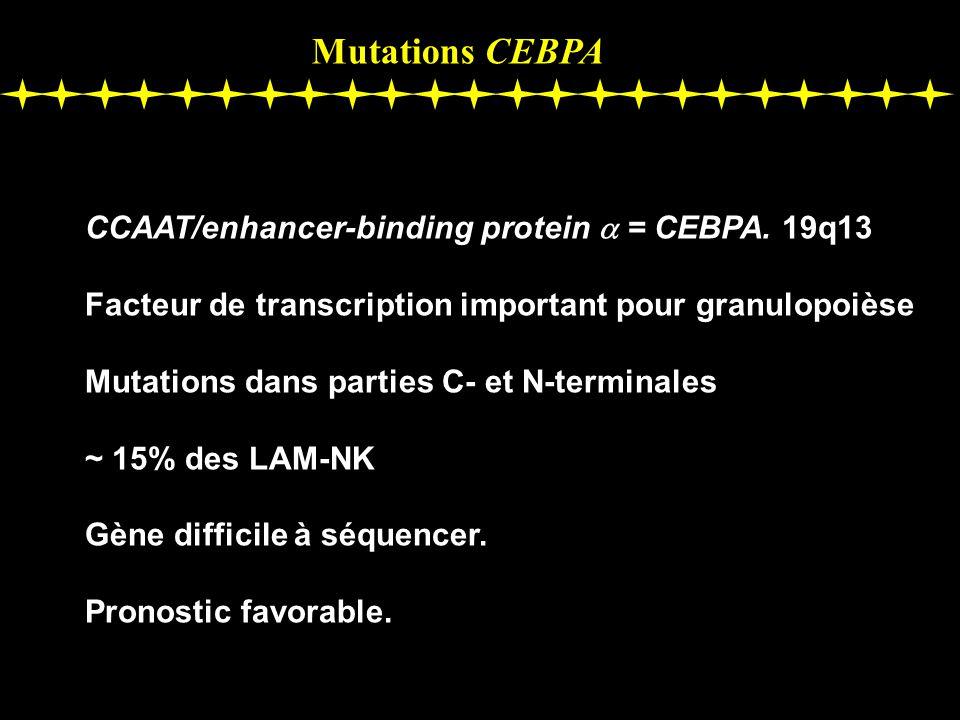 Mutations CEBPA CCAAT/enhancer-binding protein = CEBPA. 19q13 Facteur de transcription important pour granulopoièse Mutations dans parties C- et N-ter