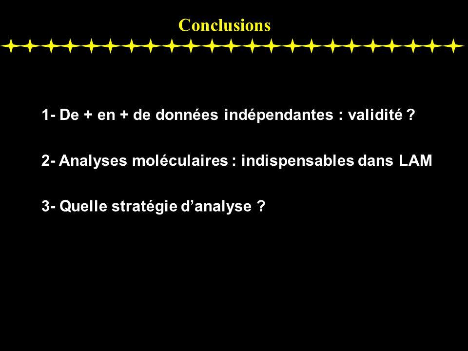 Conclusions 1- De + en + de données indépendantes : validité ? 2- Analyses moléculaires : indispensables dans LAM 3- Quelle stratégie danalyse ?
