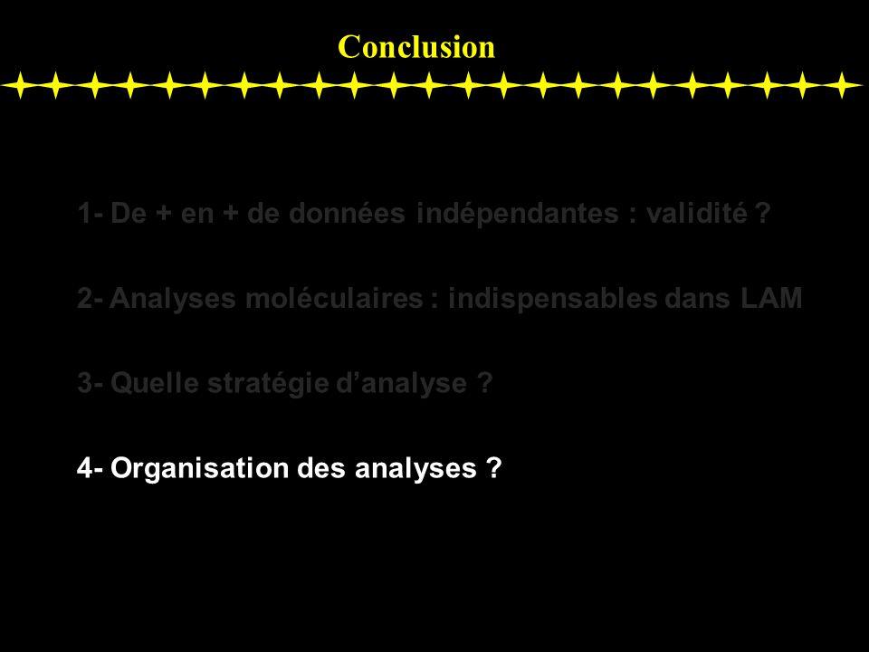 Conclusion 1- De + en + de données indépendantes : validité ? 2- Analyses moléculaires : indispensables dans LAM 3- Quelle stratégie danalyse ? 4- Org