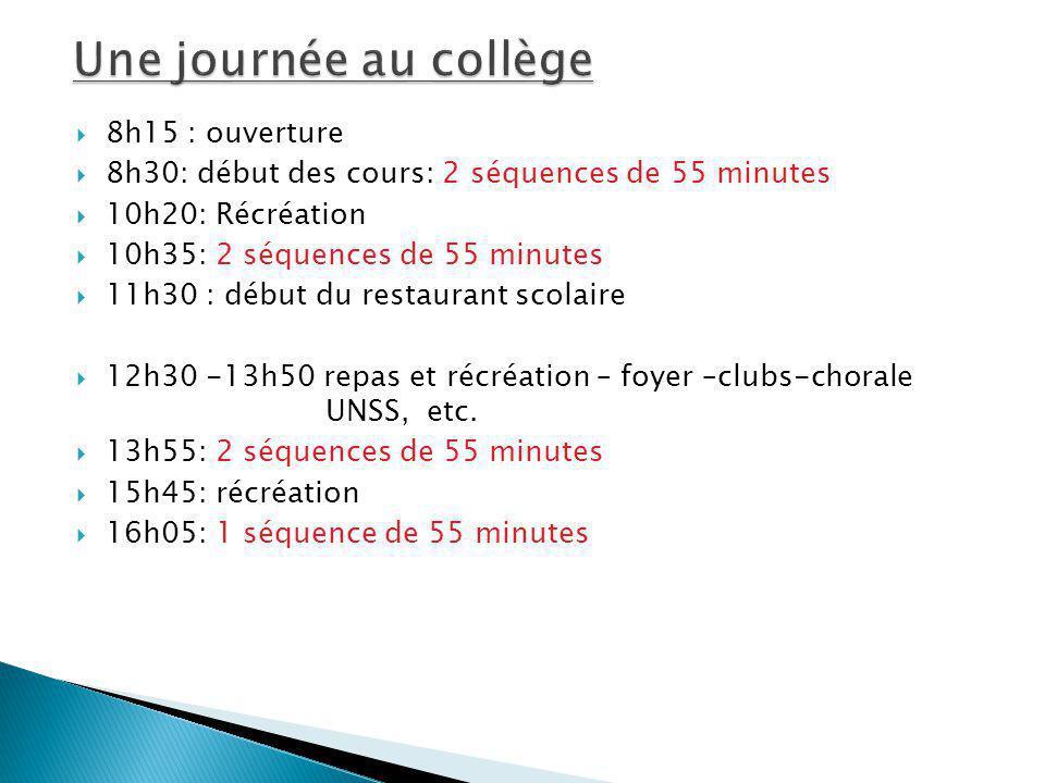8h15 : ouverture 8h30: début des cours: 2 séquences de 55 minutes 10h20: Récréation 10h35: 2 séquences de 55 minutes 11h30 : début du restaurant scola