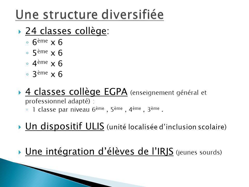 24 classes collège: 6 ème x 6 5 ème x 6 4 ème x 6 3 ème x 6 4 classes collège EGPA (enseignement général et professionnel adapté) : 1 classe par nivea