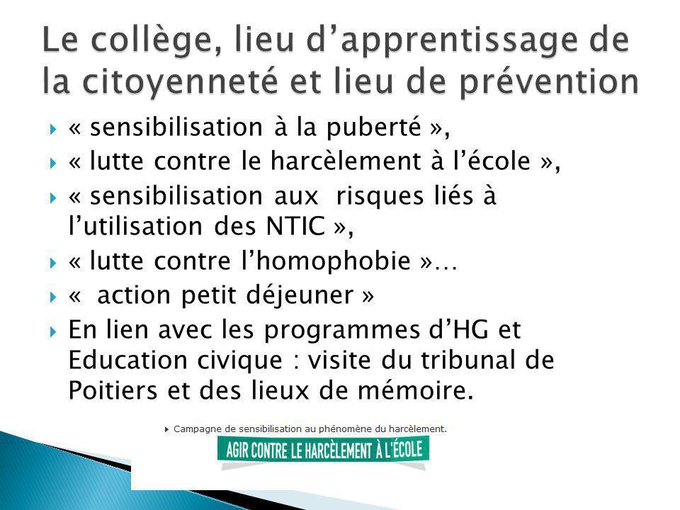 « sensibilisation à la puberté », « lutte contre le harcèlement à lécole », « sensibilisation aux risques liés à lutilisation des NTIC », « lutte cont