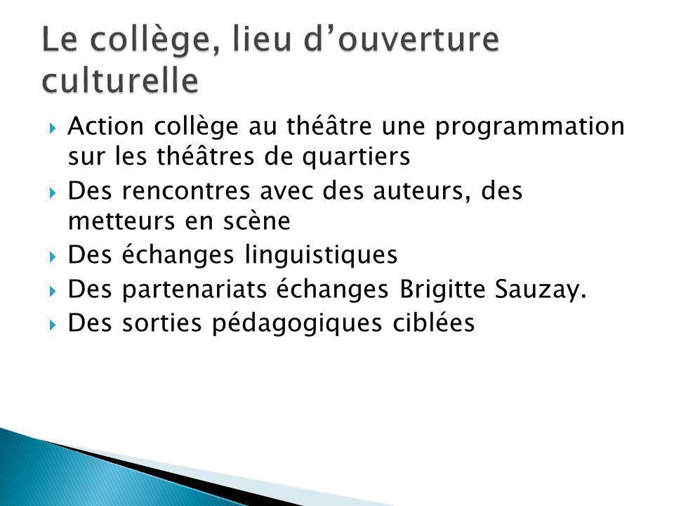 Action collège au théâtre une programmation sur les théâtres de quartiers Des rencontres avec des auteurs, des metteurs en scène Des échanges linguist