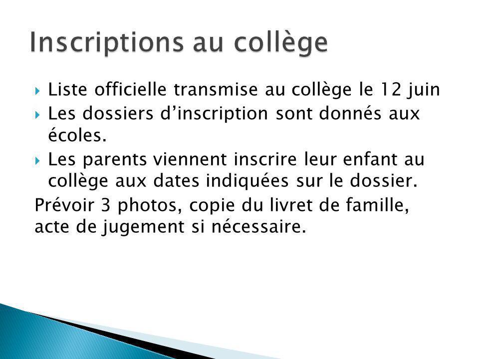 Liste officielle transmise au collège le 12 juin Les dossiers dinscription sont donnés aux écoles. Les parents viennent inscrire leur enfant au collèg