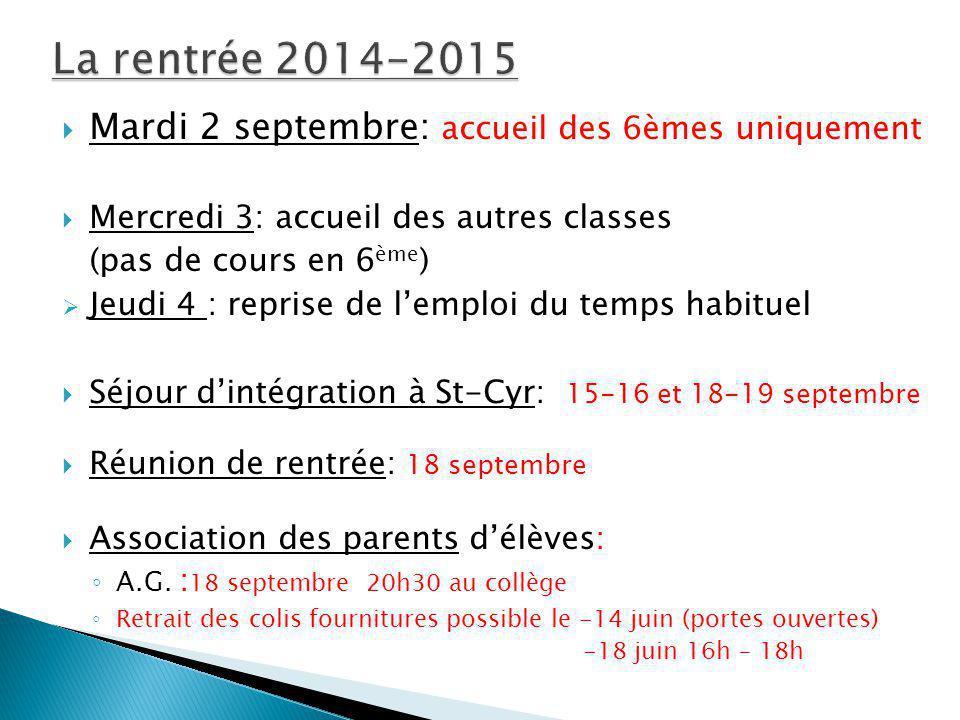 Mardi 2 septembre: accueil des 6èmes uniquement Mercredi 3: accueil des autres classes (pas de cours en 6 ème ) Jeudi 4 : reprise de lemploi du temps