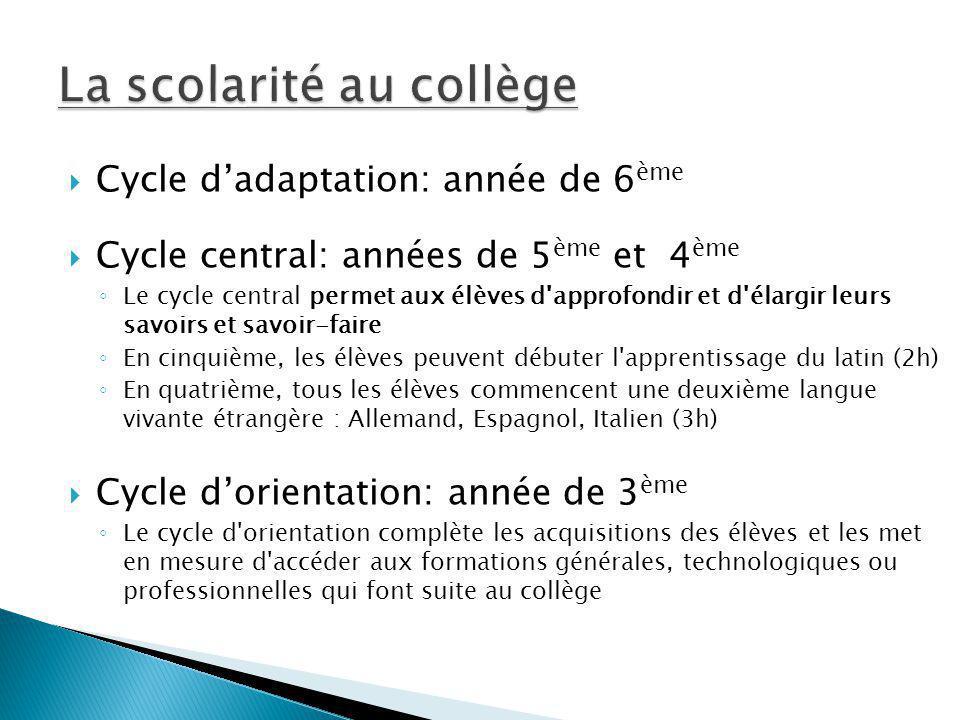 Cycle dadaptation: année de 6 ème Cycle central: années de 5 ème et 4 ème Le cycle central permet aux élèves d'approfondir et d'élargir leurs savoirs