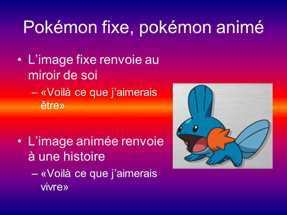 Pokémon fixe, pokémon animé Limage fixe renvoie au miroir de soi –«Voilà ce que jaimerais être» Limage animée renvoie à une histoire –«Voilà ce que jaimerais vivre»