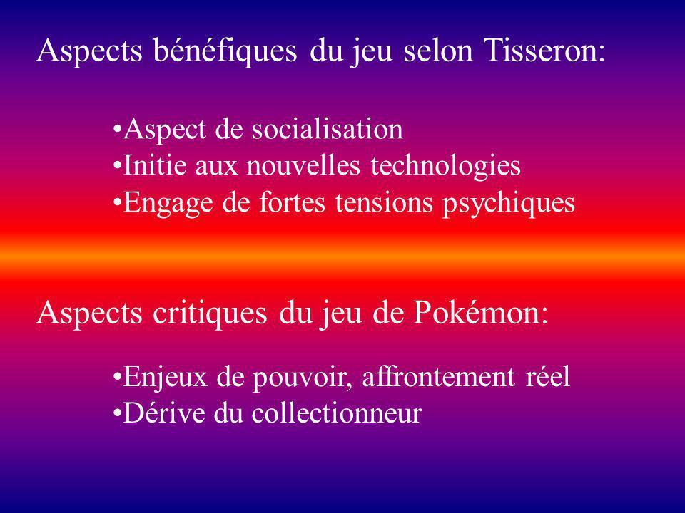 Aspects critiques du jeu de Pokémon: Enjeux de pouvoir, affrontement réel Dérive du collectionneur Aspects bénéfiques du jeu selon Tisseron: Aspect de socialisation Initie aux nouvelles technologies Engage de fortes tensions psychiques