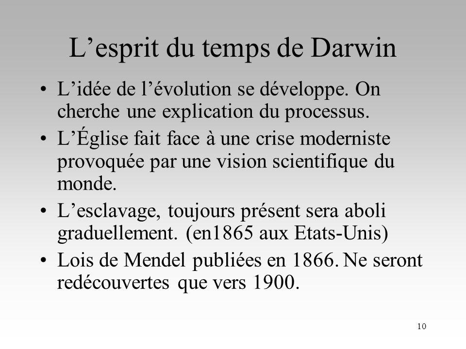 9 Les présupposés de la théorie de Darwin: Une limitation des ressources par rapport au nombre d individus entraîne une lutte pour la survie. (Malthus