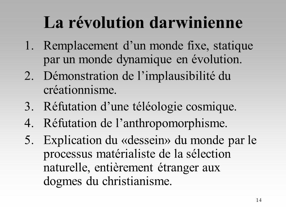13 Implications de la théorie de Darwin: Une réfutation du fixisme Une réfutation de l anthropocentrisme Une réfutation du créationnisme