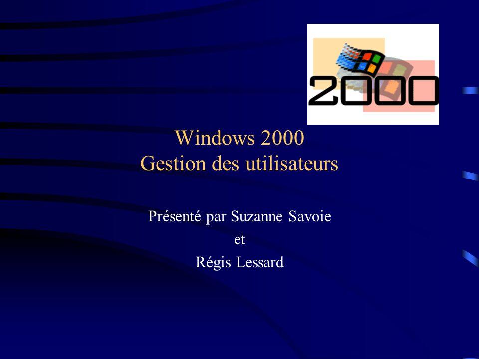 Windows 2000 Gestion des utilisateurs Présenté par Suzanne Savoie et Régis Lessard