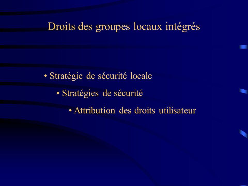 Droits des groupes locaux intégrés Stratégie de sécurité locale Stratégies de sécurité Attribution des droits utilisateur