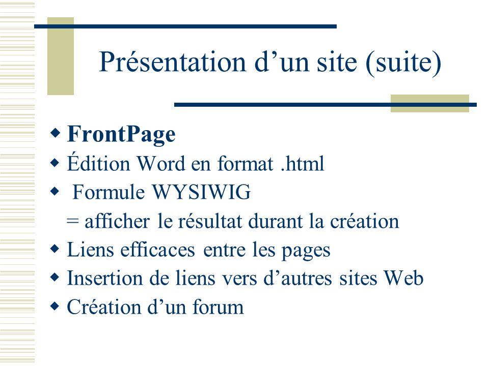 Présentation dun site (suite) FrontPage Édition Word en format.html Formule WYSIWIG = afficher le résultat durant la création Liens efficaces entre les pages Insertion de liens vers dautres sites Web Création dun forum