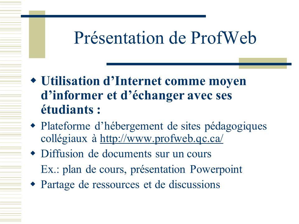 Présentation de ProfWeb Utilisation dInternet comme moyen dinformer et déchanger avec ses étudiants : Plateforme dhébergement de sites pédagogiques collégiaux à http://www.profweb.qc.ca/http://www.profweb.qc.ca/ Diffusion de documents sur un cours Ex.: plan de cours, présentation Powerpoint Partage de ressources et de discussions