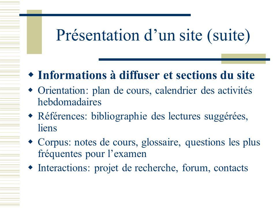 Gestion de lespace personnel (suite) Présentation sur Powerpoint Afficher le déroulement des sujets abordés Synthétiser les notes de cours sans imprimer Intégrer un multimédia simple Compléter le télédéchargement en classe Réviser les notions pour lexamen en différé