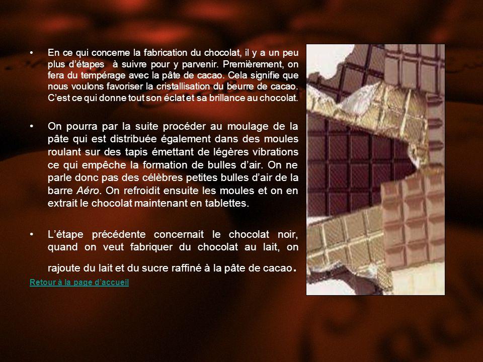 En ce qui concerne la fabrication du chocolat, il y a un peu plus détapes à suivre pour y parvenir.