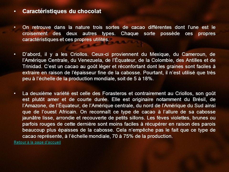 Caractéristiques du chocolat On retrouve dans la nature trois sortes de cacao différentes dont lune est le croisement des deux autres types.