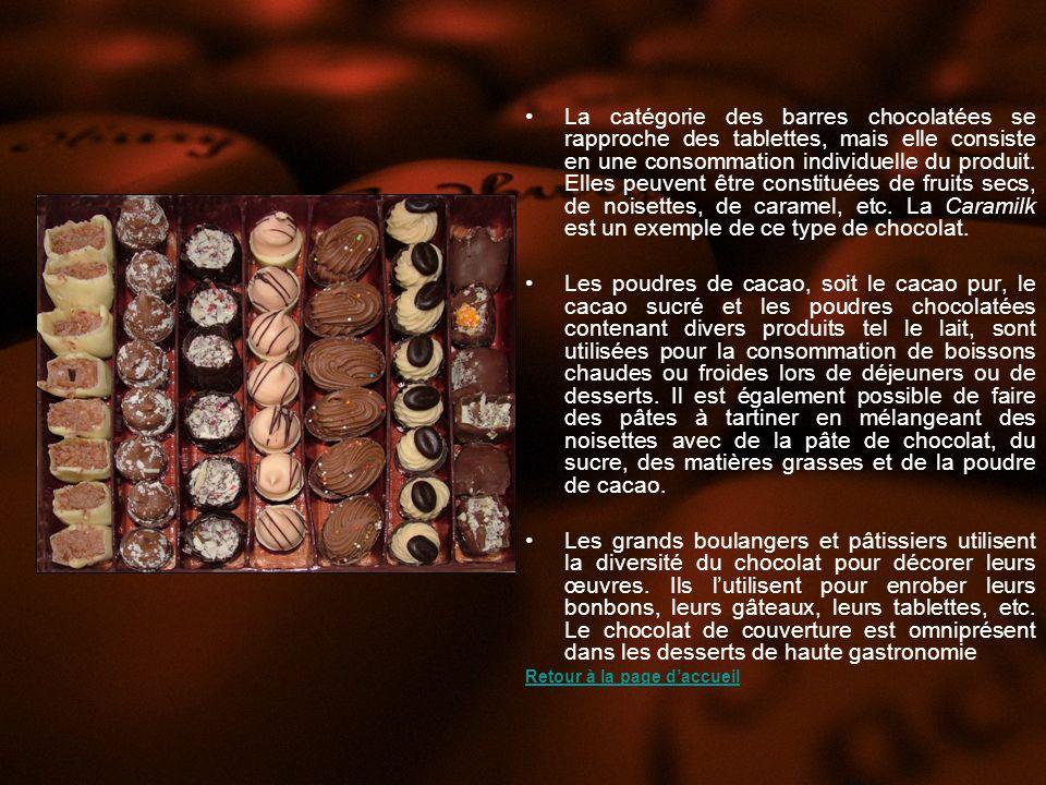 La catégorie des barres chocolatées se rapproche des tablettes, mais elle consiste en une consommation individuelle du produit.