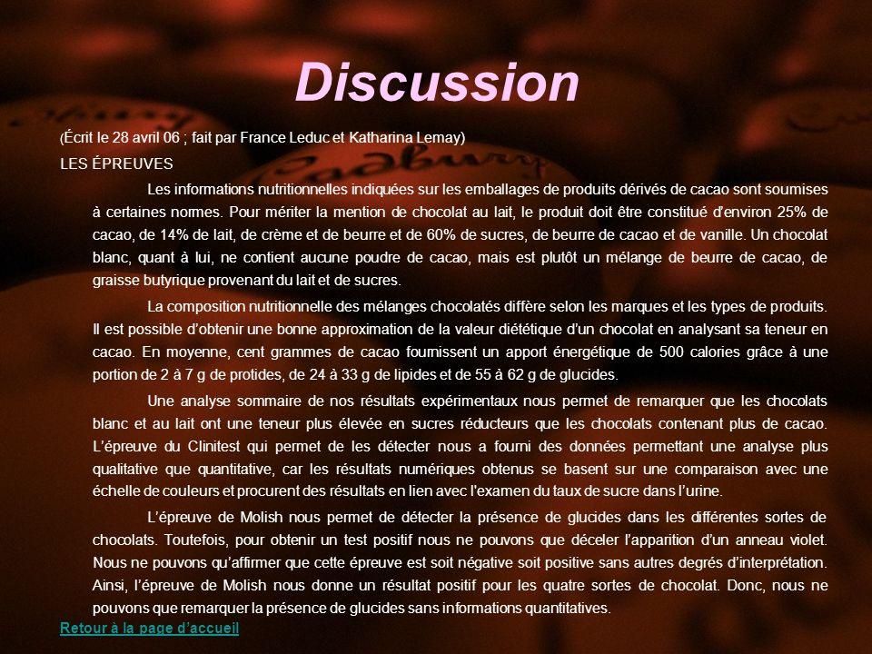 Discussion ( Écrit le 28 avril 06 ; fait par France Leduc et Katharina Lemay) LES ÉPREUVES Les informations nutritionnelles indiquées sur les emballages de produits dérivés de cacao sont soumises à certaines normes.