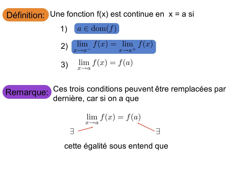 Définition: Une fonction f(x) est continue en x = a si 1) 2) 3) Remarque: Ces trois conditions peuvent être remplacées par la dernière, car si on a qu