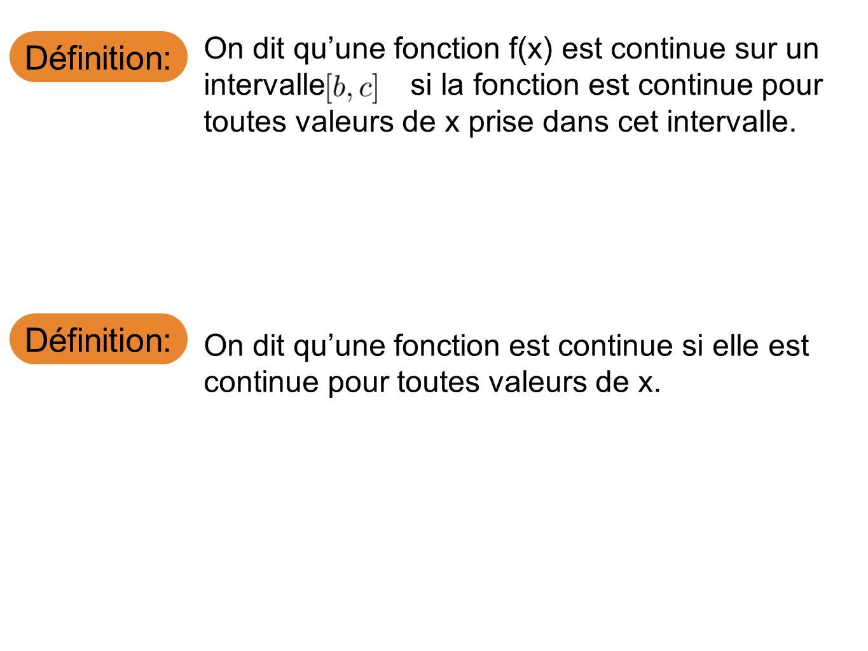 Définition: On dit quune fonction f(x) est continue sur un intervalle si la fonction est continue pour toutes valeurs de x prise dans cet intervalle.