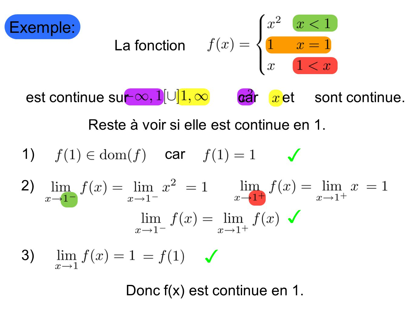 Exemple: La fonction Reste à voir si elle est continue en 1. 1) 2) 3) Donc f(x) est continue en 1. car est continue sur car et sont continue.