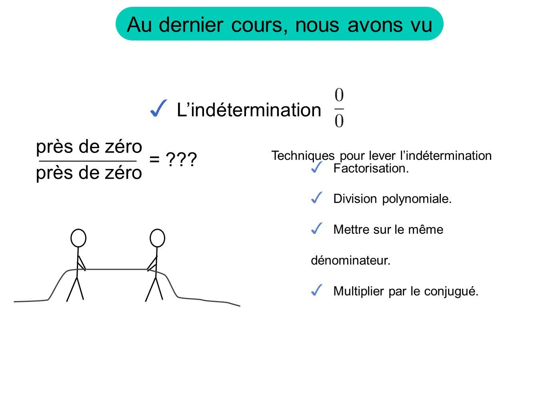 Au dernier cours, nous avons vu Lindétermination = ??? près de zéro Factorisation. Division polynomiale. Mettre sur le même dénominateur. Multiplier p
