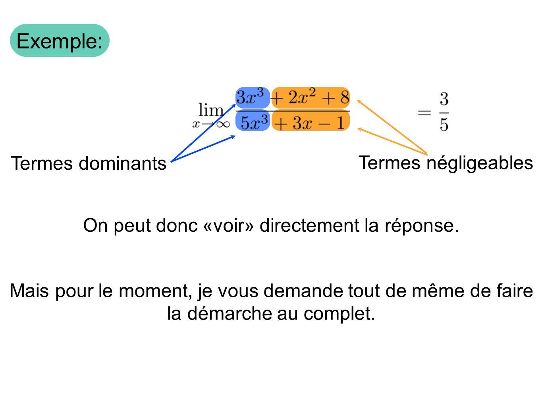 Termes négligeables Termes dominants Exemple: On peut donc «voir» directement la réponse. Mais pour le moment, je vous demande tout de même de faire l