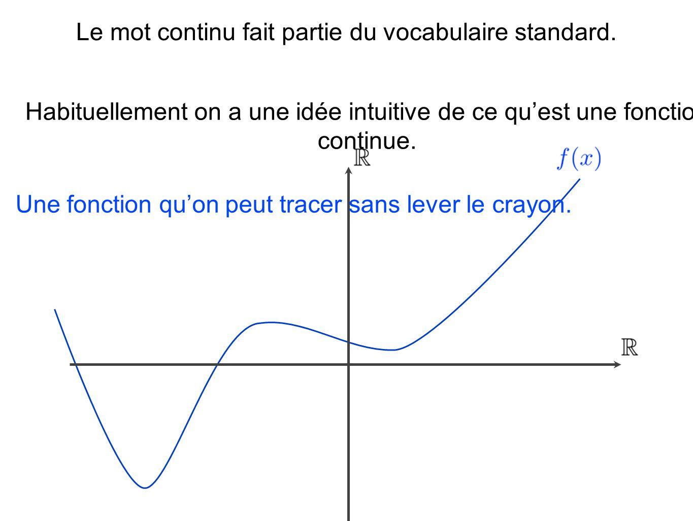 Le mot continu fait partie du vocabulaire standard. Habituellement on a une idée intuitive de ce quest une fonction continue. Une fonction quon peut t