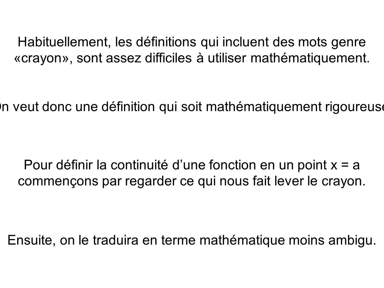Remarque: Au cours 3, on avait conclu, à la suite des théorèmes sur les limites que pour toutes valeurs de a du domaine dune fonction algébrique Ce qui revient à dire que toute fonction algébrique est continue sur son domaine.