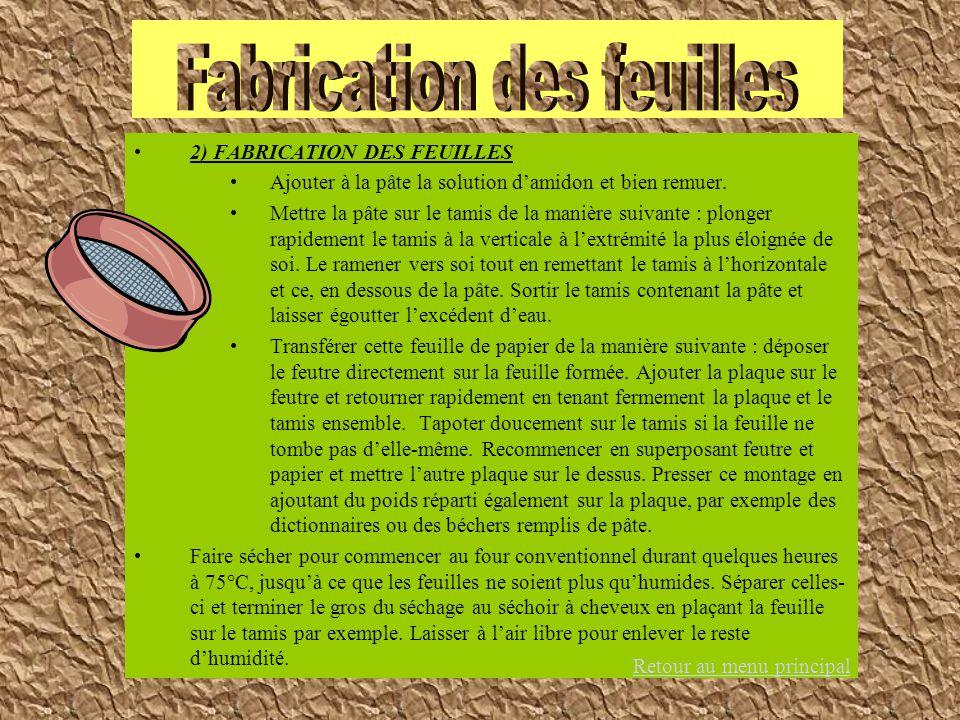 2) FABRICATION DES FEUILLES Ajouter à la pâte la solution damidon et bien remuer. Mettre la pâte sur le tamis de la manière suivante : plonger rapidem