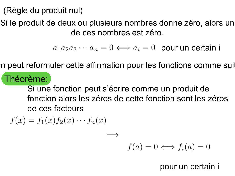 Théorème: (Règle du produit nul) Si une fonction peut sécrire comme un produit de fonction alors les zéros de cette fonction sont les zéros de ces fac