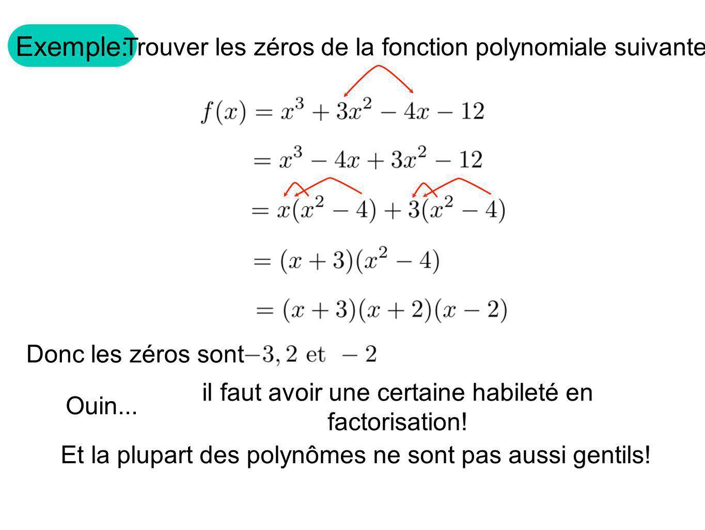 Exemple: Trouver les zéros de la fonction polynomiale suivante. Donc les zéros sont Ouin... il faut avoir une certaine habileté en factorisation! Et l