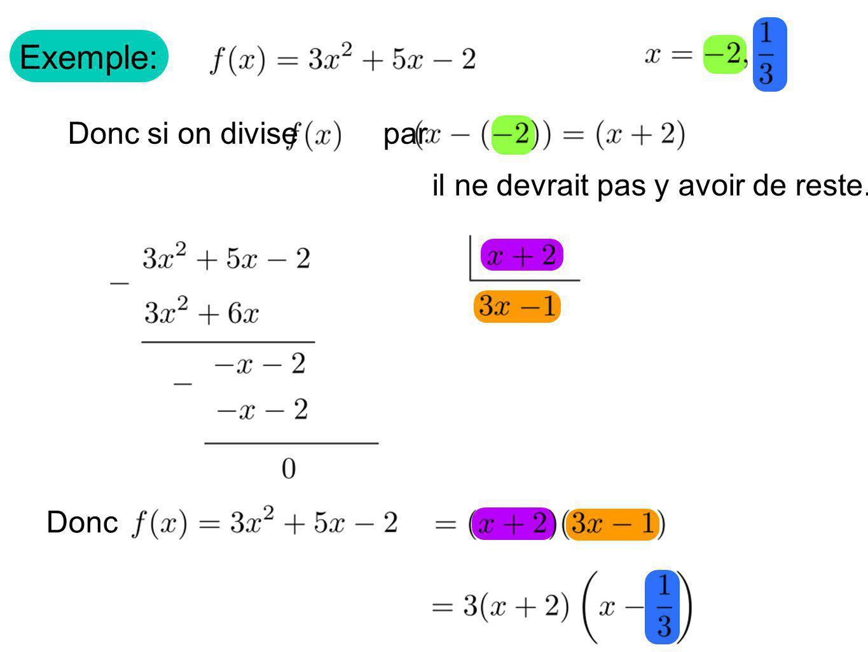 Exemple: Donc si on divise par il ne devrait pas y avoir de reste. Donc