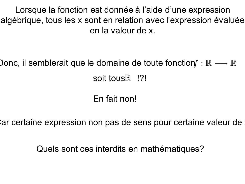 Lorsque la fonction est donnée à laide dune expression algébrique, tous les x sont en relation avec lexpression évaluée en la valeur de x. Donc, il se