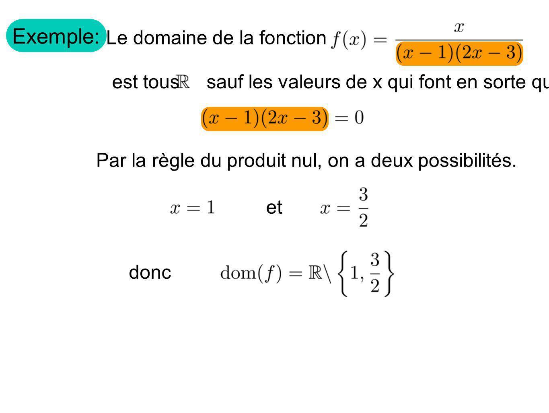Exemple: Le domaine de la fonction est tous sauf les valeurs de x qui font en sorte que Par la règle du produit nul, on a deux possibilités. et donc