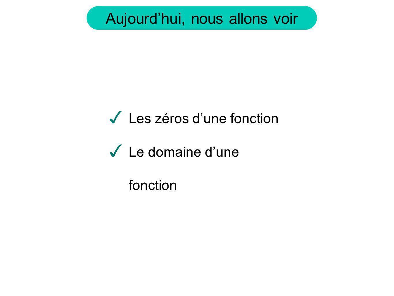 Définition: Les zéros (ou racine) dune fonction sont les valeurs de x tel que.