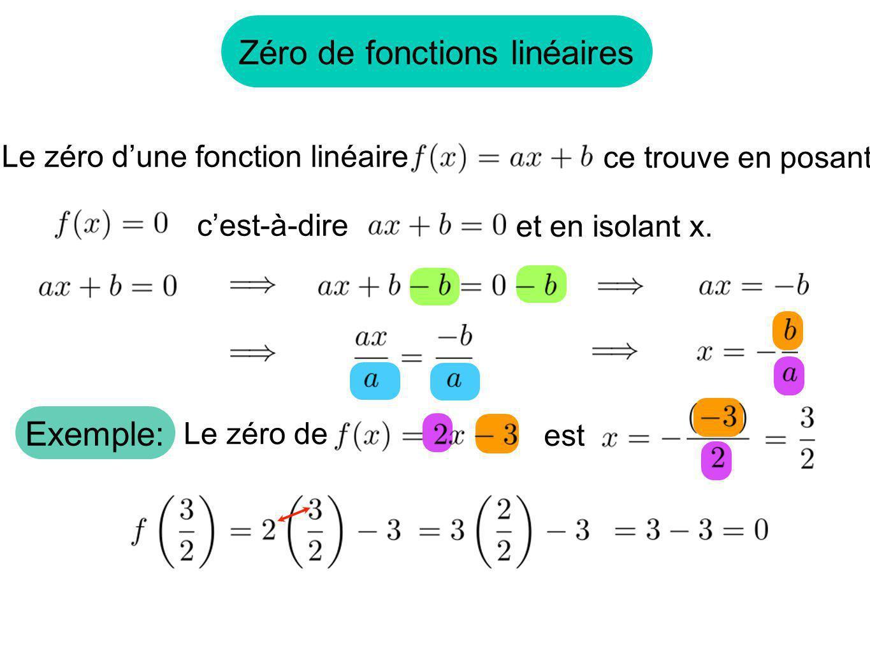 Zéro de fonctions linéaires Le zéro dune fonction linéaire ce trouve en posant cest-à-dire et en isolant x. Exemple: Le zéro de est