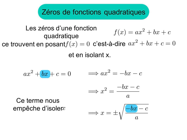 Zéros de fonctions quadratiques ce trouvent en posant Les zéros dune fonction quadratique cest-à-dire et en isolant x. Ce terme nous empêche disoler