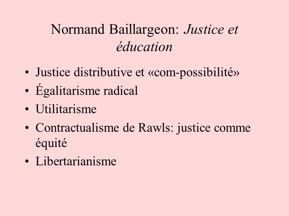 Normand Baillargeon: Justice et éducation Justice distributive et «com-possibilité» Égalitarisme radical Utilitarisme Contractualisme de Rawls: justice comme équité Libertarianisme