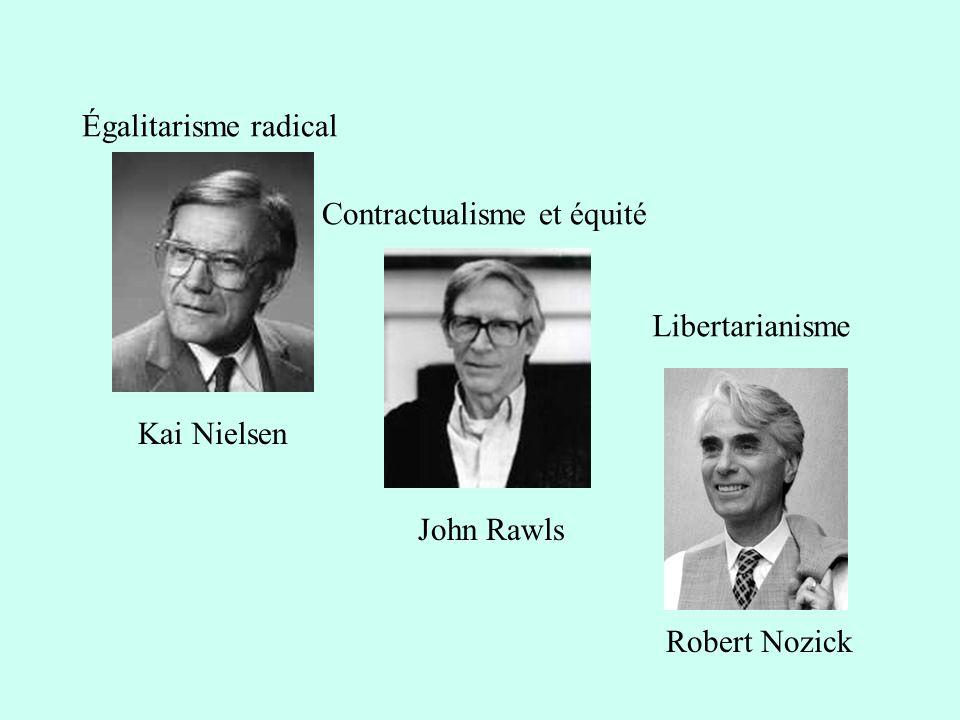 Kai Nielsen John Rawls Robert Nozick Égalitarisme radical Contractualisme et équité Libertarianisme