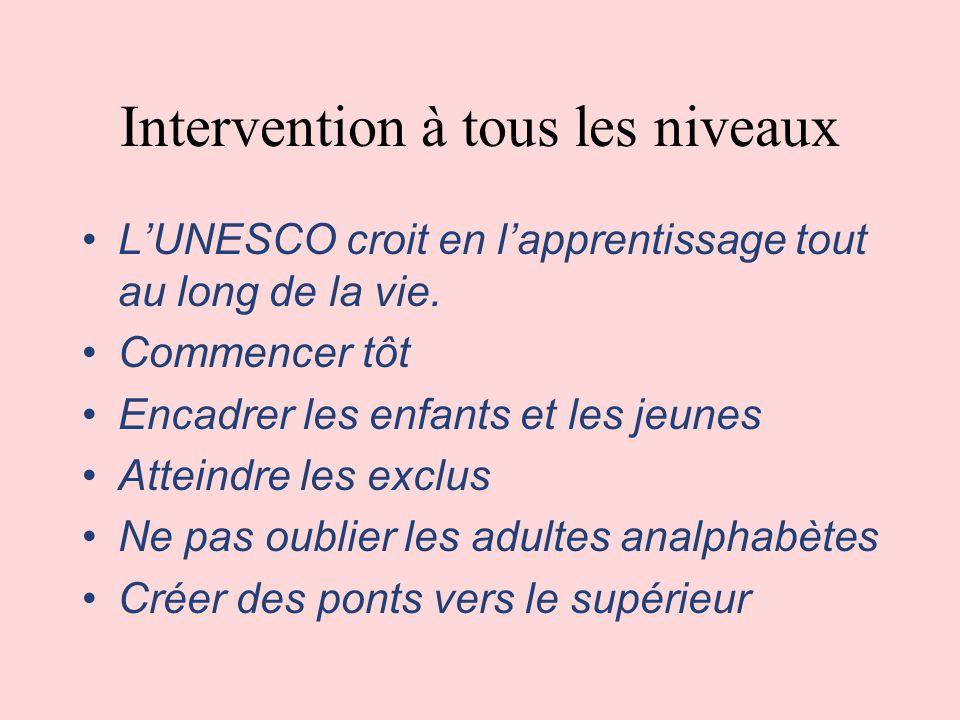 Intervention à tous les niveaux LUNESCO croit en lapprentissage tout au long de la vie.