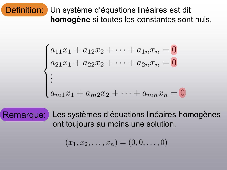 Définition: Un système déquations linéaires est dit homogène si toutes les constantes sont nuls. Les systèmes déquations linéaires homogènes ont toujo