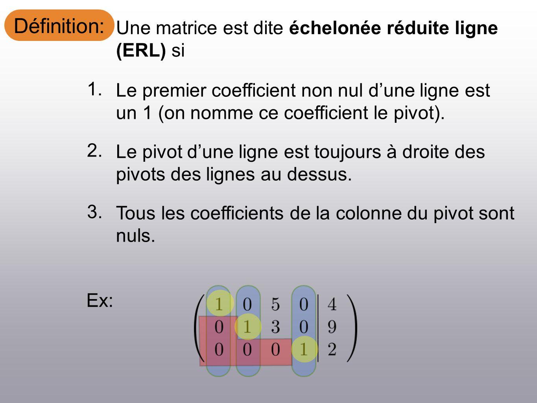 Définition: Une matrice est dite échelonée réduite ligne (ERL) si Ex: Le premier coefficient non nul dune ligne est un 1 (on nomme ce coefficient le p
