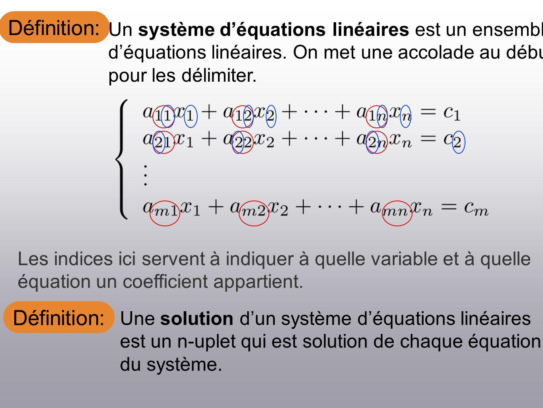 Définition: Une matrice est dite échelonée réduite ligne (ERL) si Ex: Le premier coefficient non nul dune ligne est un 1 (on nomme ce coefficient le pivot).