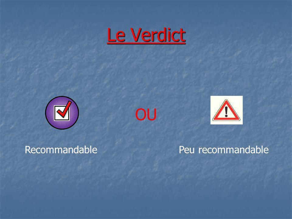 Le Verdict OU RecommandablePeu recommandable
