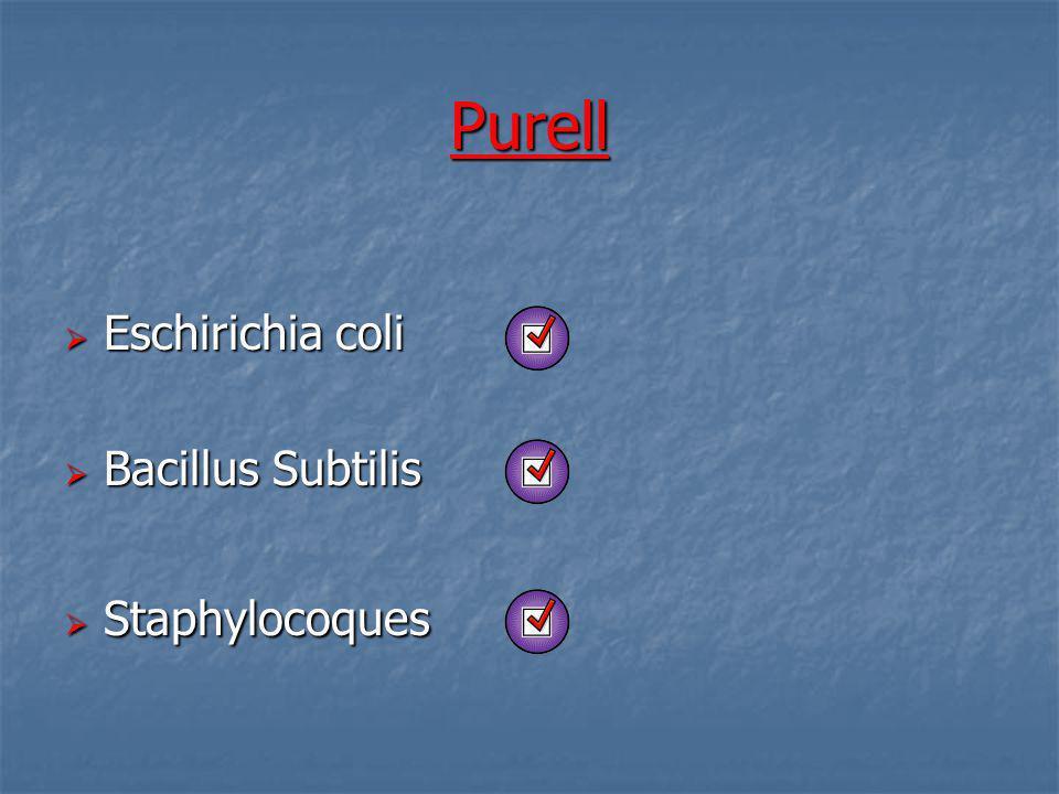 Purell Eschirichia coli Eschirichia coli Bacillus Subtilis Bacillus Subtilis Staphylocoques Staphylocoques