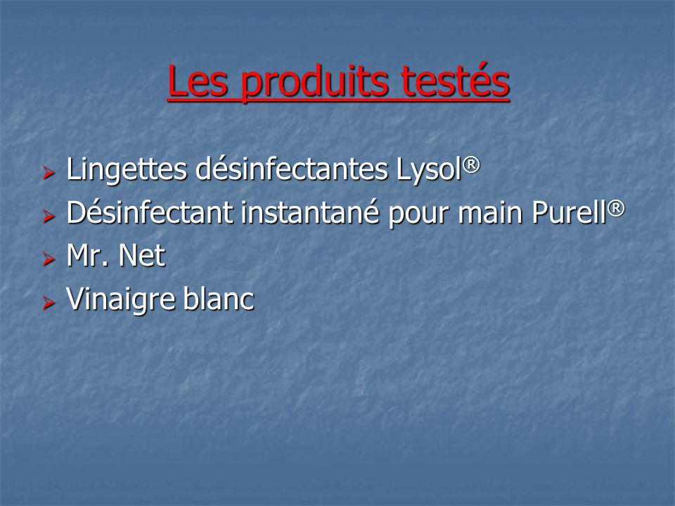 Les produits testés Lingettes désinfectantes Lysol ® Lingettes désinfectantes Lysol ® Désinfectant instantané pour main Purell ® Désinfectant instanta