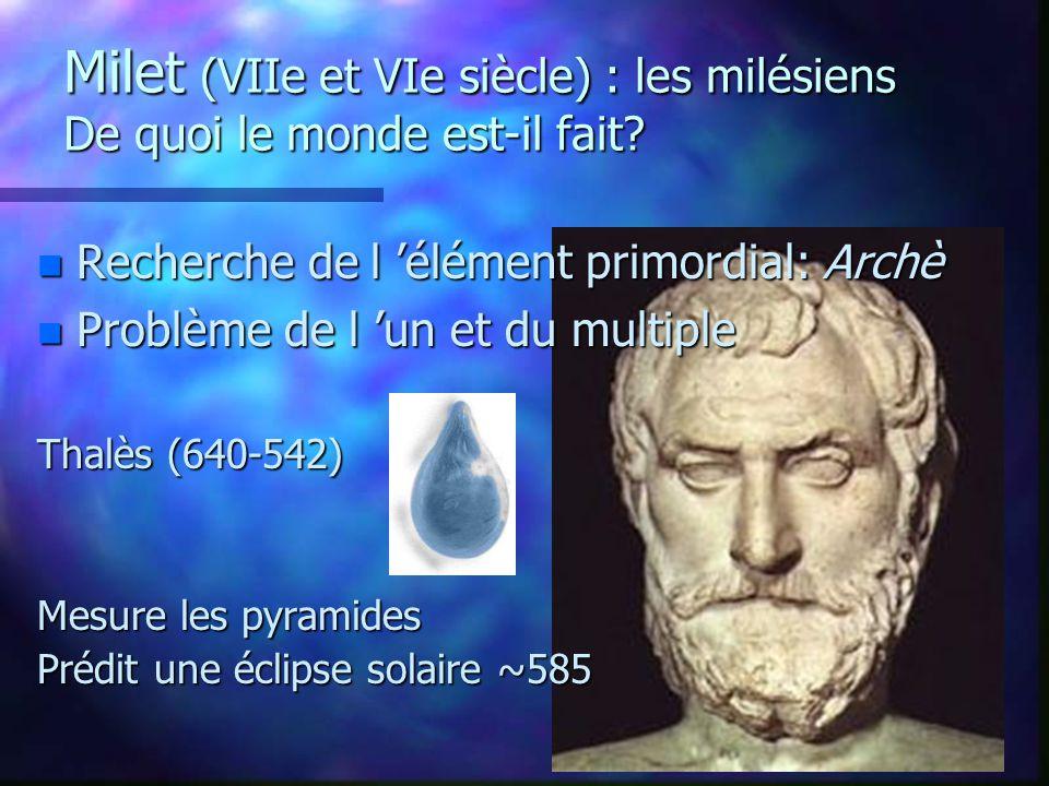 Premiers penseurs: Les physiciens ou présocratiques n Deux cités ioniennes: Milet et Éphèse n Discours rationnel plutôt que surnaturel.